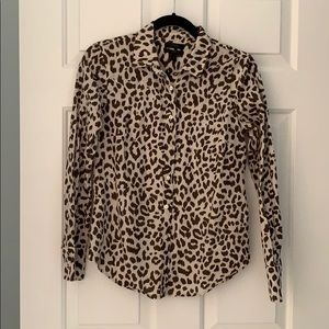 J. Crew linen leopard print button down size 2